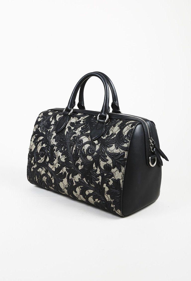 3f06e1eee Gucci Black & Beige Coated Canvas & Leather Arabesque GG Supreme