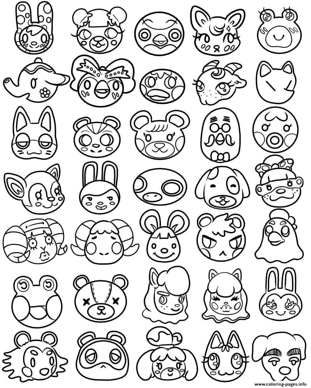 Print animal crossing kawaii cute head coloring pages  Coloring