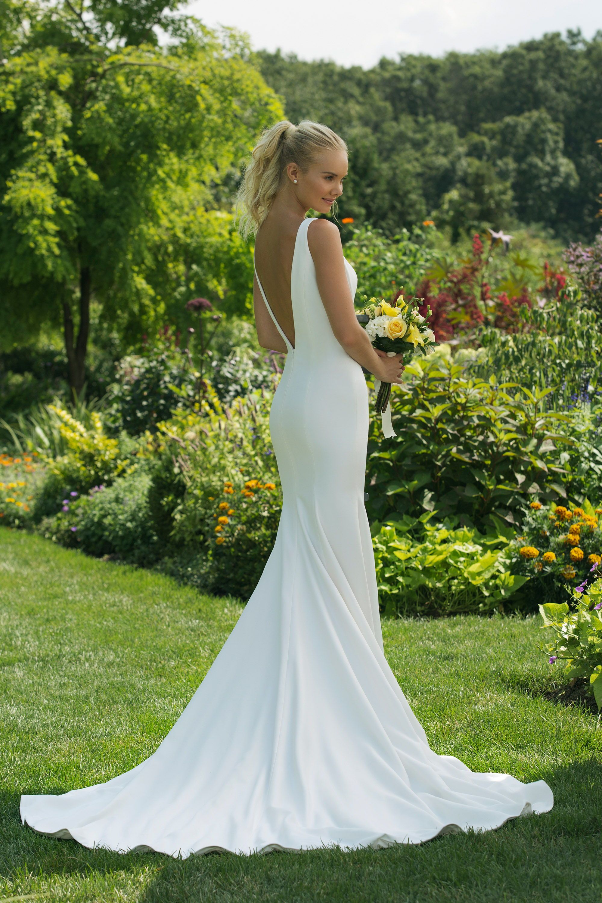 Sweetheart Gowns 11018 Fitted Crepe Wedding Dress V Neckline With A Low Back And Delicate Train Wedding Dresses Crepe Wedding Dress Modest Wedding Dresses