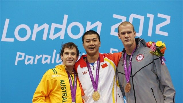(L-R) Silver medallist Matthew Levy of Australia, gold medallist Pan Shiyun of China and bronze medallist Lantz Lamback of the United States pose on the podium during the medal ceremony for the men's 100m Freestyle - S7 final on Day 5 of the London 2012 Paralympic Games at the Aquatics Centre