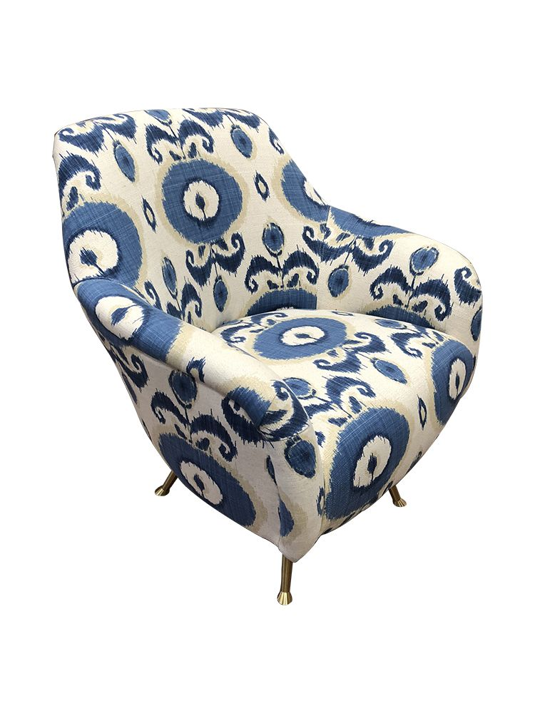 Best Dayle Blue Ikat Upholstered Swivel Chair Upholstered 400 x 300