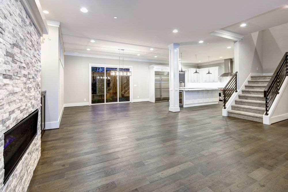 Hardwood Flooring Living Room Walnut Open E Lighting in