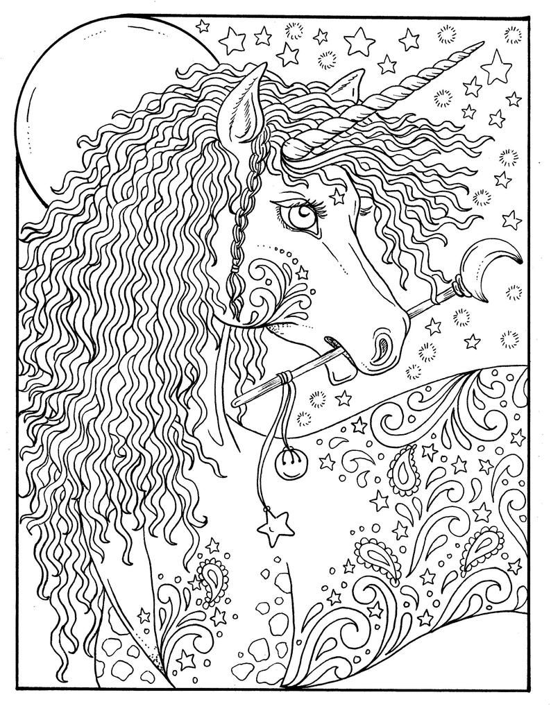 Digital Coloring Book Unicorn Dreams Magical Fantasy Etsy In 2021 Unicorn Coloring Pages Horse Coloring Pages Coloring Pages