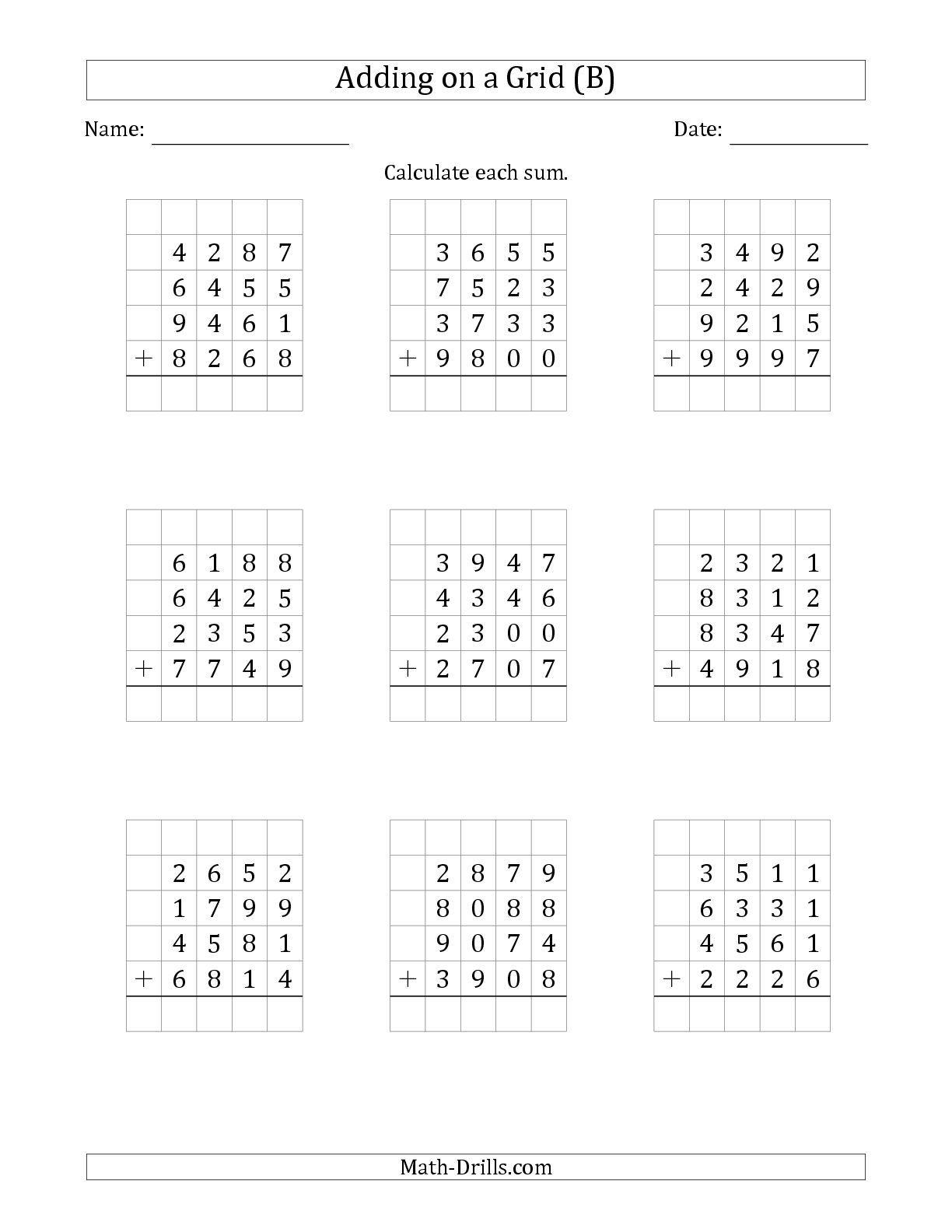 small resolution of The Adding Four 4-Digit Numbers on a Grid (B) math worksheet from the  Addition Worksh…   Mathematics worksheets