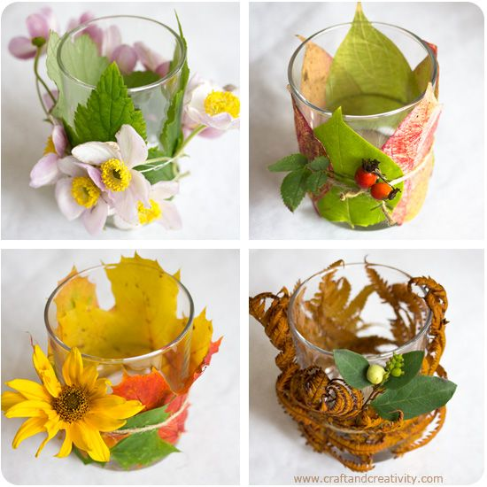 Autumn Lanterns - by Craft & Creativity Leafs and flowers in warm colors wrapped around drinking glasses with a tea light inside. Easy, cheap and cozy for those ever darker autumn evenings