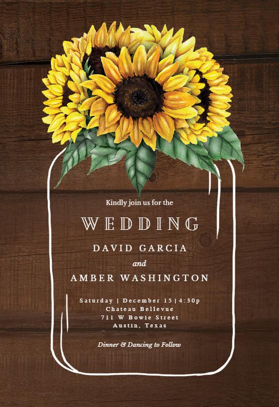 Sunflowers filled jar Wedding Invitation Template (free