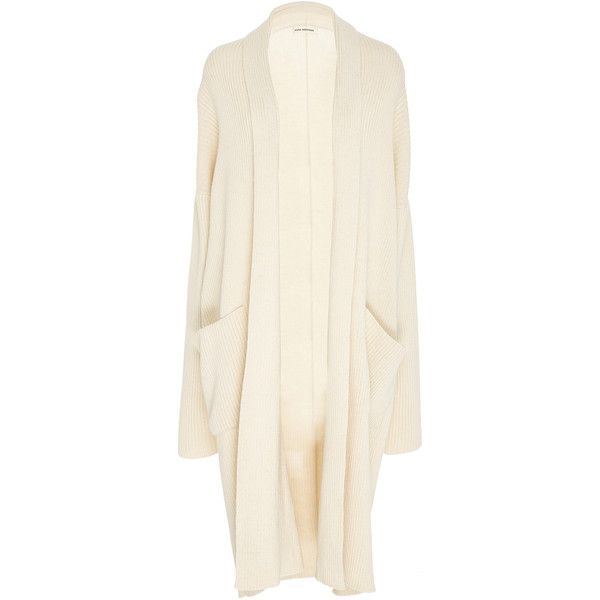 Mara Hoffman Estela Knit Coat ($425) ❤ liked on Polyvore featuring outerwear, coats, white, shawl collar coats, mara hoffman coat, mara hoffman, knit coat and white coat