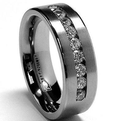 Wish | 8 MM Men's Titanium ring wedding band with 9 large Channel Set CZ sizes 7 to 15