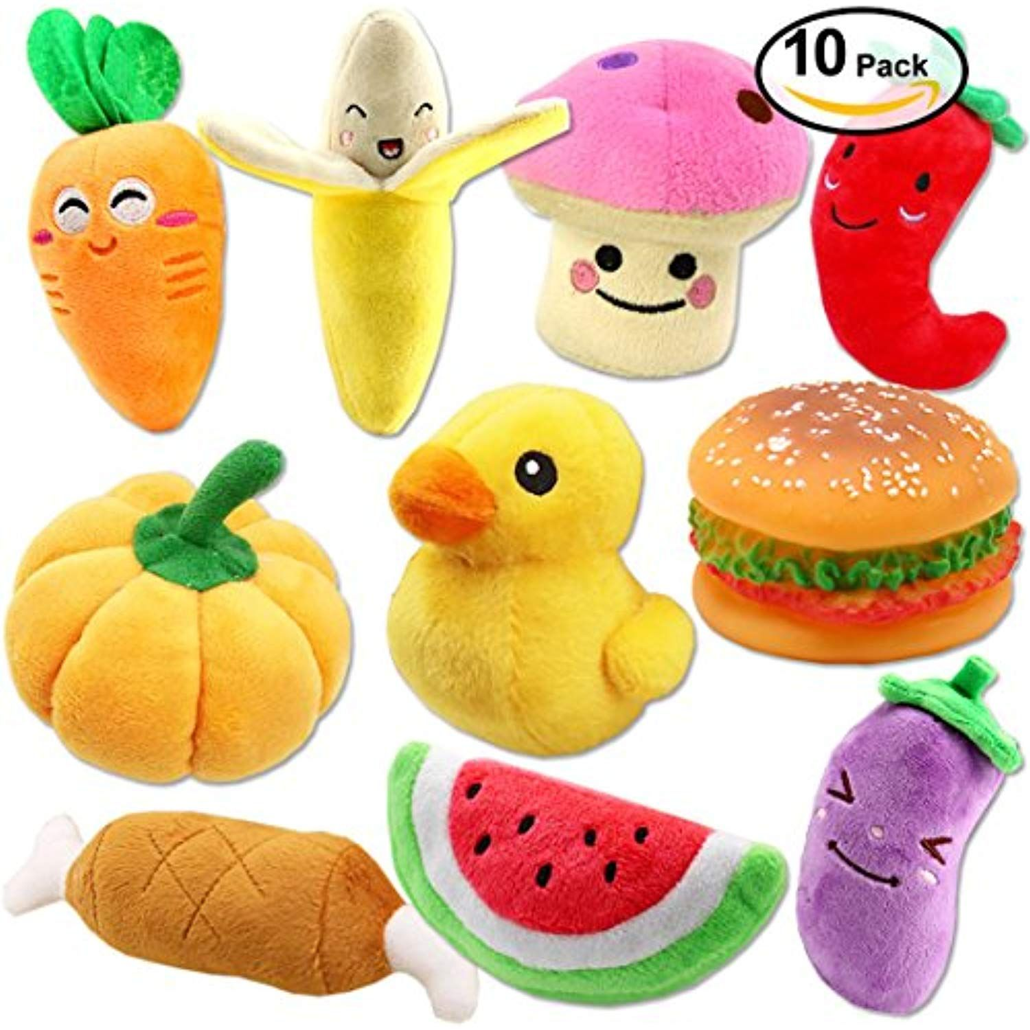 Plush Vegetable Dog Toy Set For Puppy Squeaky Dog Toys 10 Pack