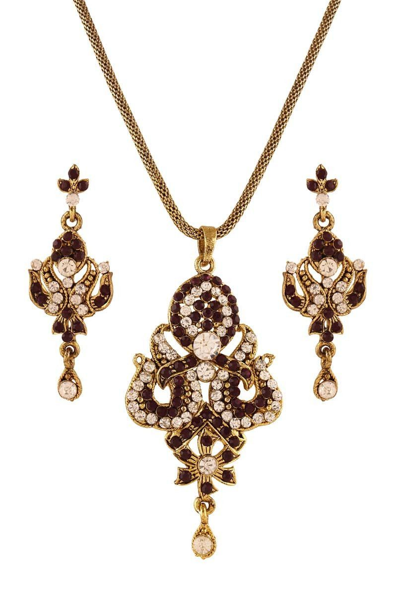 Purple gold plated austrian diamond pendant set pendant sets