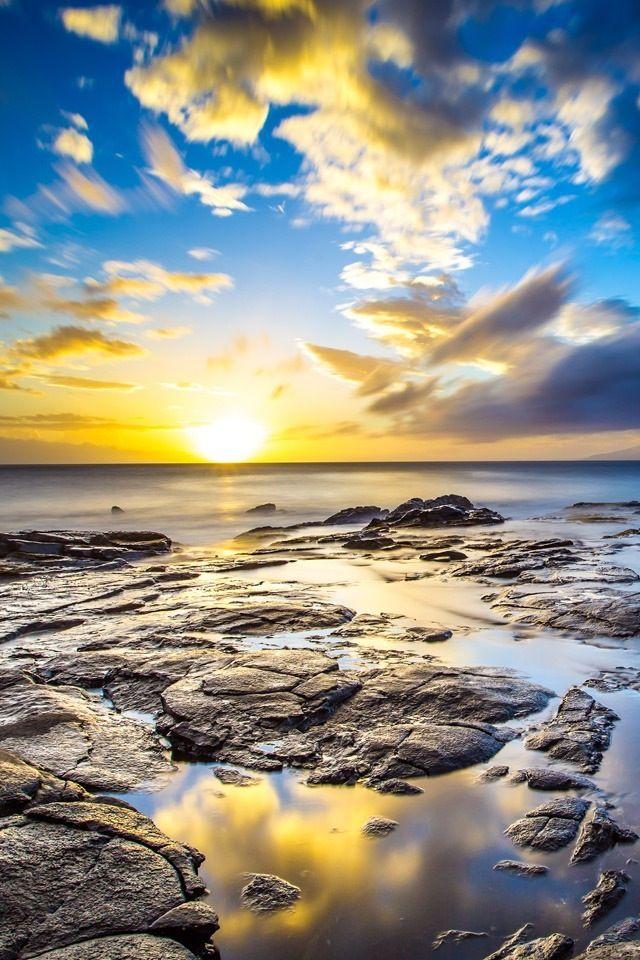 Sunrise Beach Iphone 4s Wallpapers Hawaii Landscape Sunset Nature Sunrise