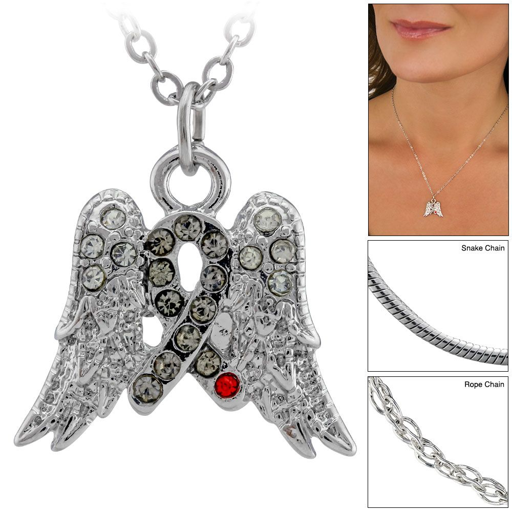 On Angel Wings Diabetes Awareness Ribbon Necklace at The Diabetes Site