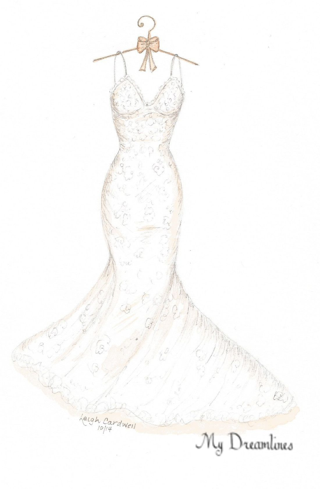 Wedding dress sketch for a paper one year anniversary gift or