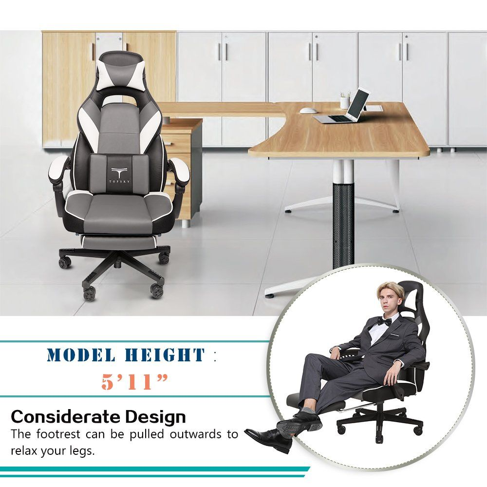 Topsky High Back Racing Style Pu Leather Executive Computer Gaming Office Chair Ergonomic Reclining Design With Lumbar Cushion Footrest In 2020 Foot Rest Chair Design
