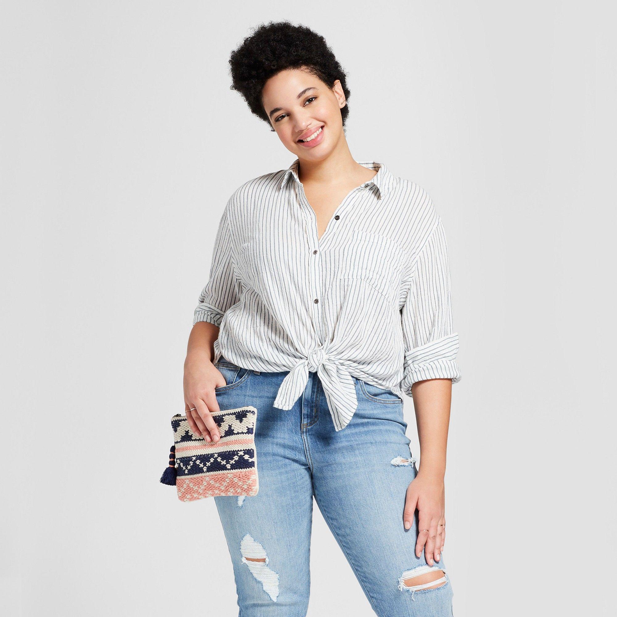 d0d95556fdb Women s Plus Size Tie Front Striped Button Down Shirt - Universal Thread  Blue 3X
