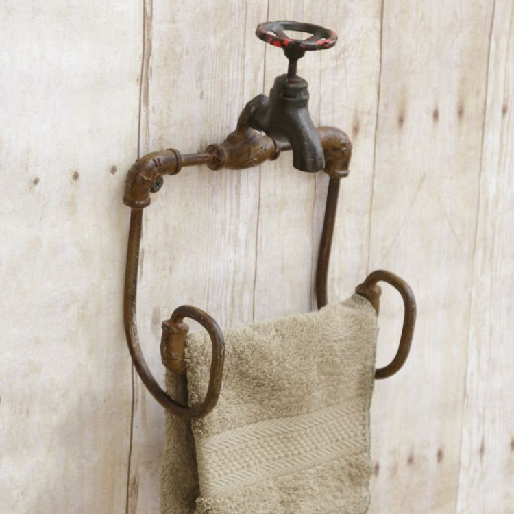 New Vintage Style Spigot Faucet Toilet Paper Holder Hand Towel Bar Wall Rack