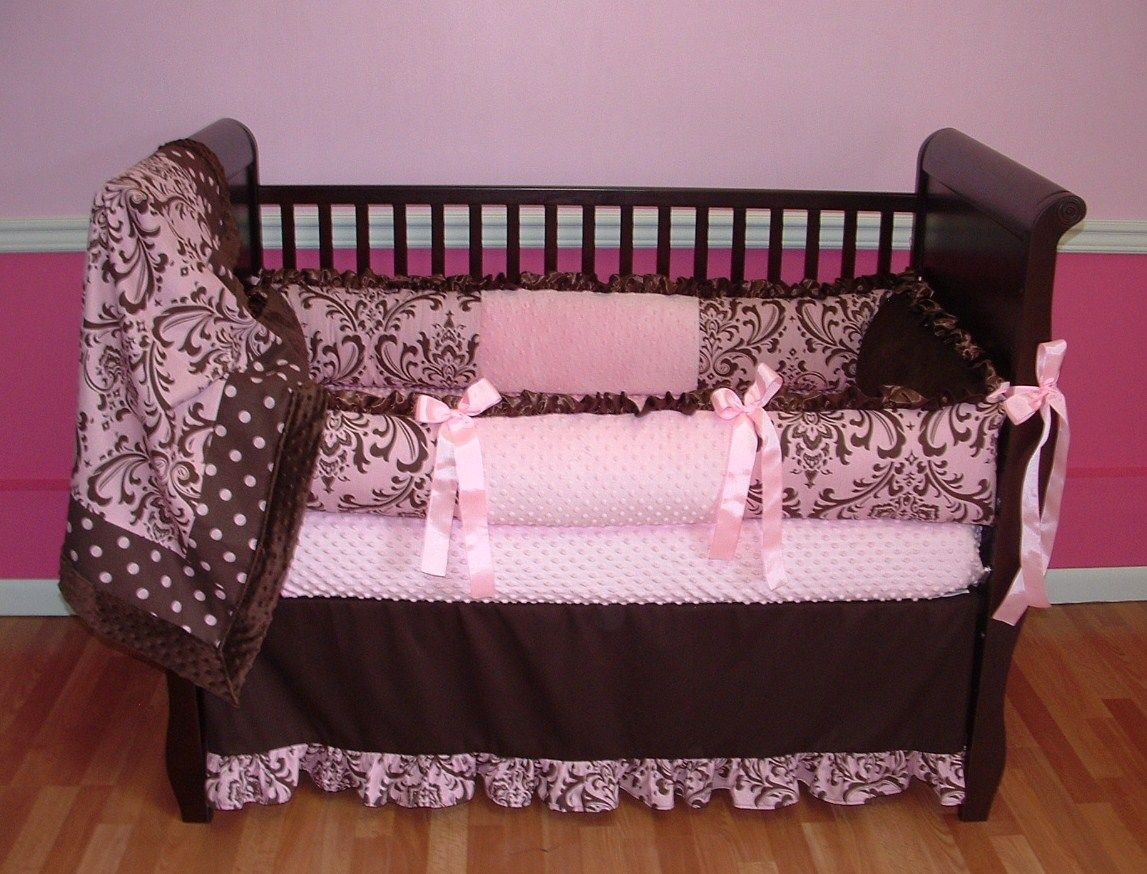 Pink And Chocolate Damask Baby Bedding This Custom Baby Crib Bedding Set  Includes Ruffled Bumper,