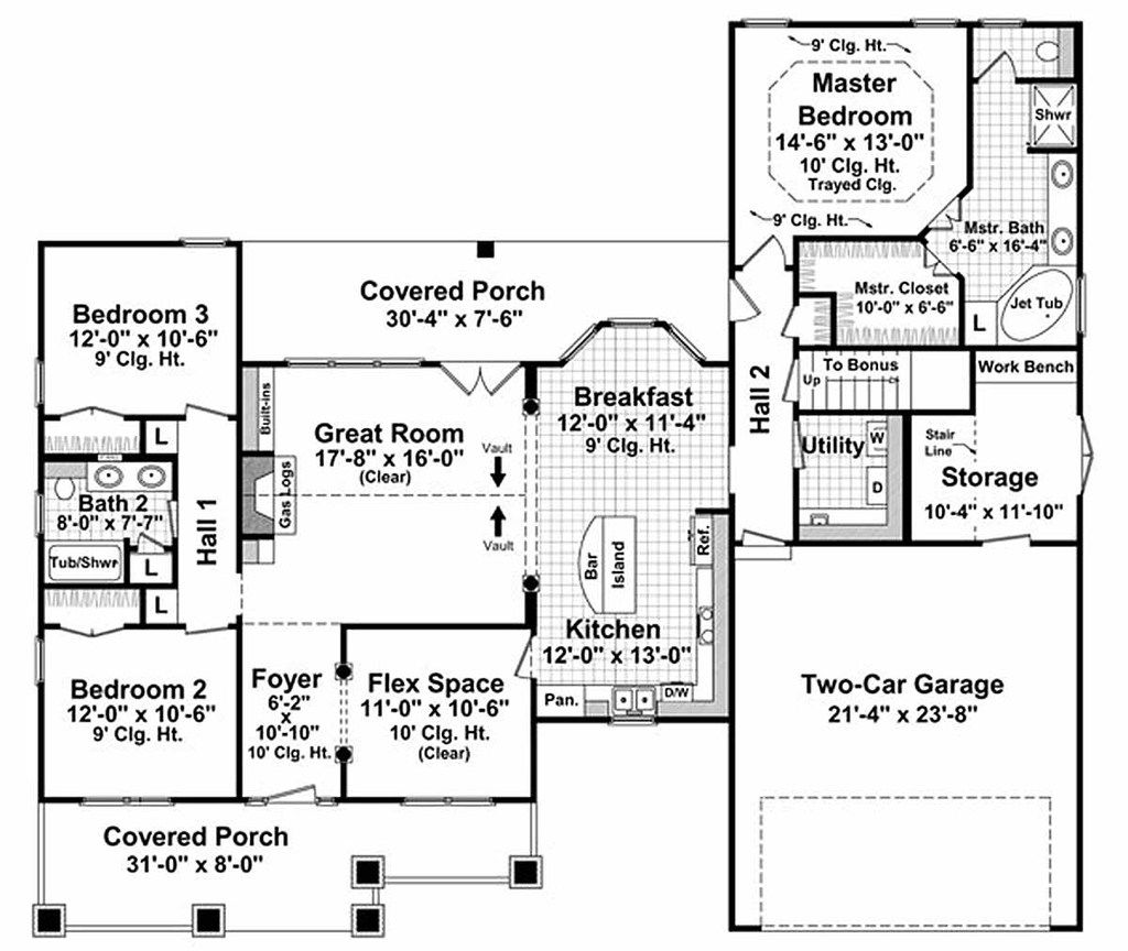 craftsman style house plan main level floor plan 3 bedroom 2