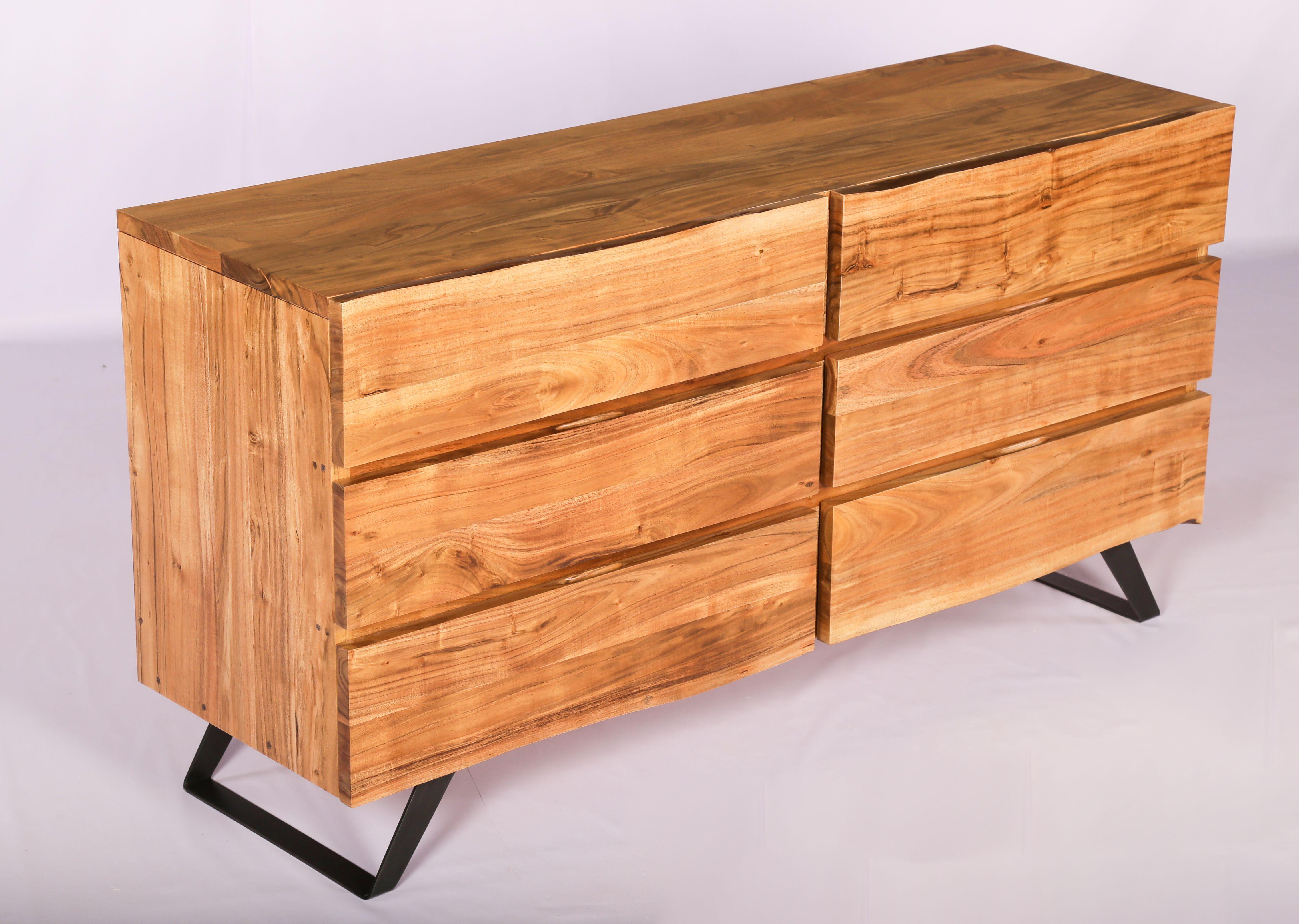 acacia wood iron base dresser