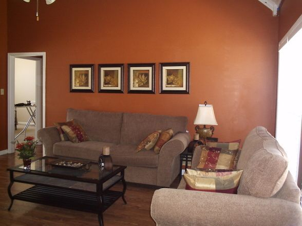 Orange Paint Colors On Pinterest Burnt Orange Paint Paint Living Room Paint Color Ideas Orange Living Room Paint Living Room Orange