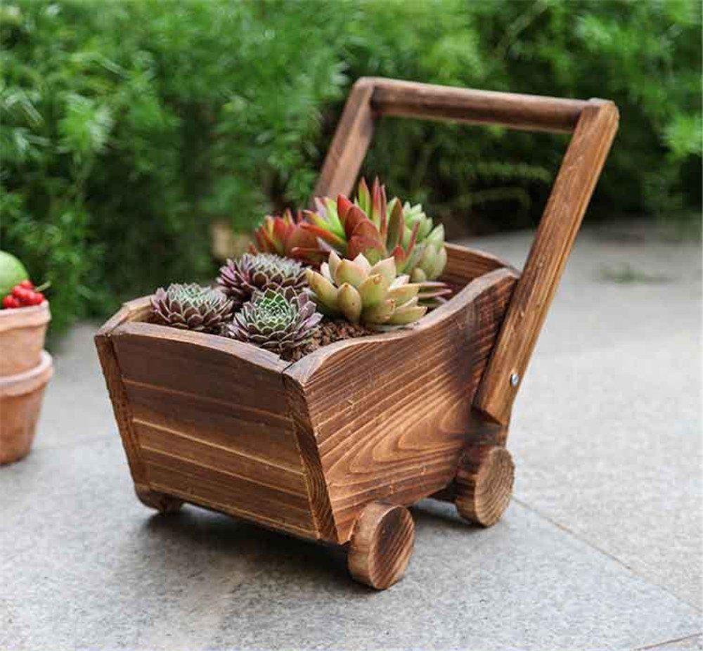 Danmu Wood Wagon Flower Planter Outdoor