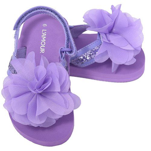 LAmour Little Girls 1 Black Sequin Strap Flower Flip Flop Sandals