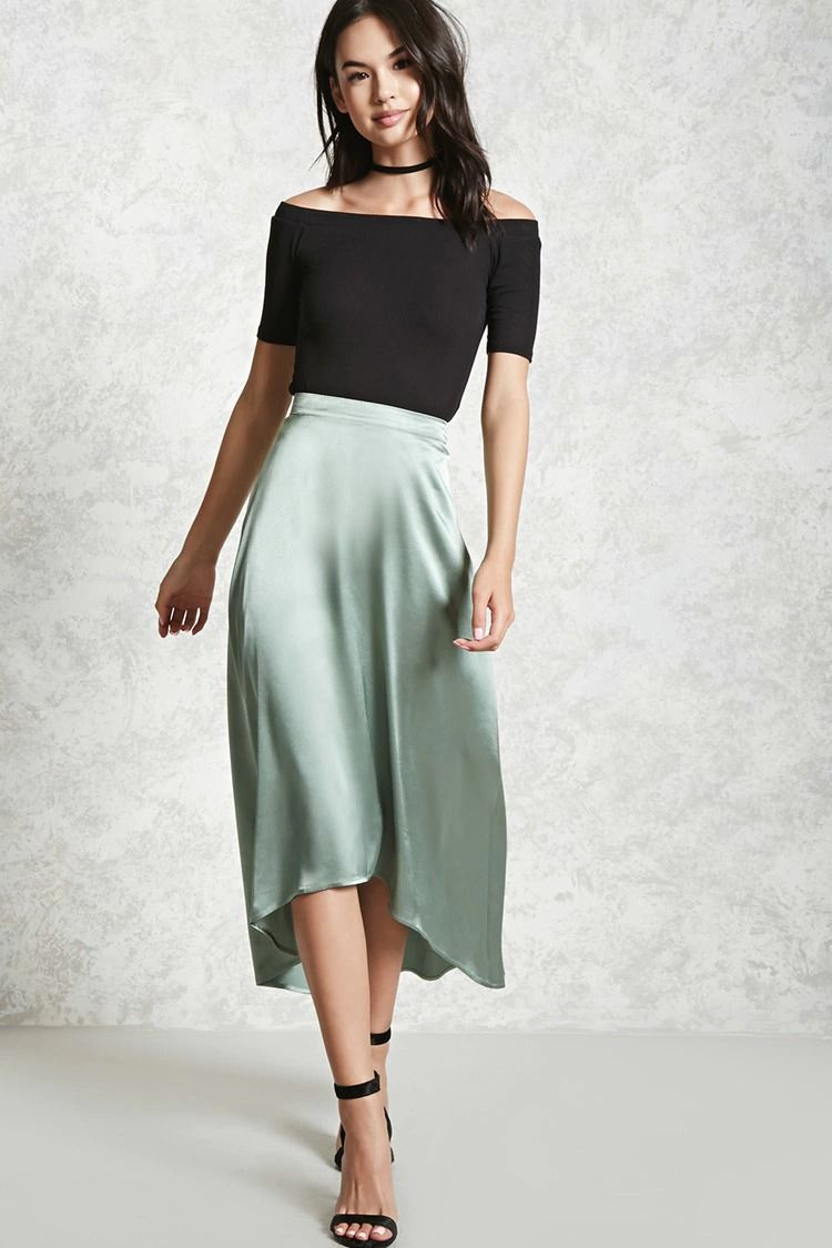e7d1124f15 Forever 21 Contemporary - A satin skirt featuring a high-low hem and a  concealed side zipper.