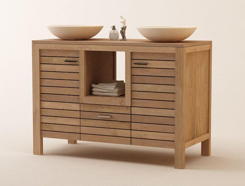 Muebles de ba os en madera de teca serie lavamanos dobles - Muebles de bano madera ...