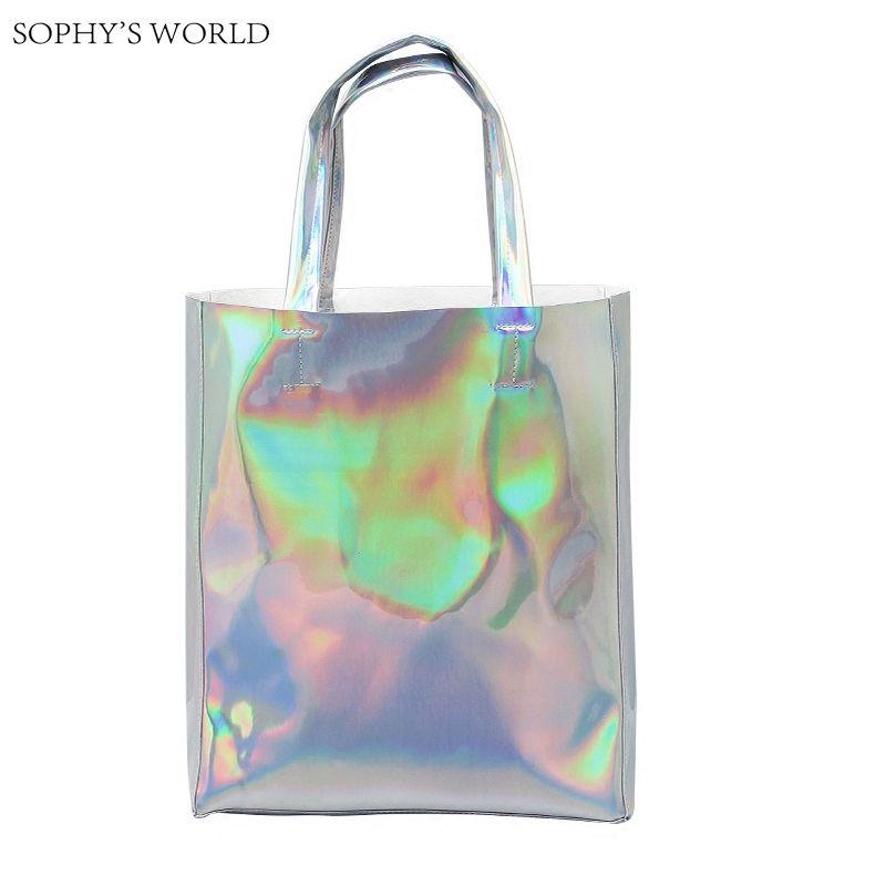 Luxury Brand Women Shoulder Bag Hologram Leather TopHandle Bags Silver  Ladies Shopper Bag Large Capacity Tote Handbags Beach Bag   Price   21.95    FREE ... e2bcf0b89db90