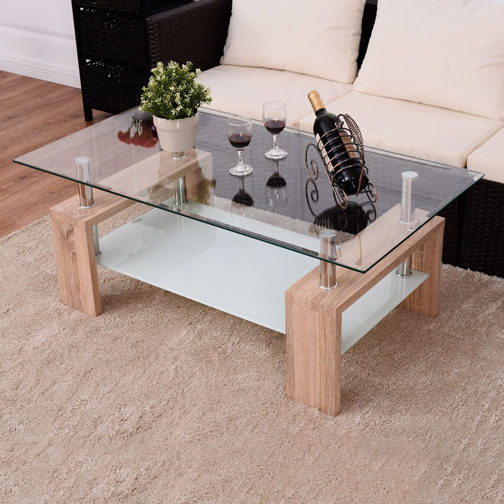 Giantex Rectangular Tempered Glass Coffee Table With Shelf Modern Wood Leg Side Tables Living R Wood Furniture Living Room Coffee Table Coffee Table With Shelf [ 1024 x 1024 Pixel ]