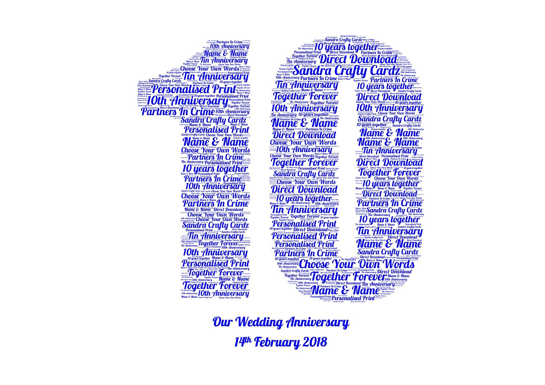 Engagement Gift Vow Renewal Wedding Day Anniversary Personalised Word Art Print