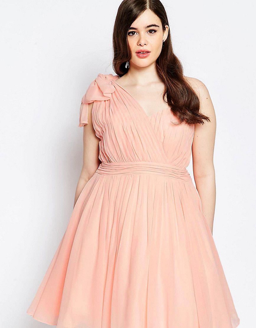 dbd5eaf5772c3 Forever Unique Plus One Shoulder Pleated Prom Dress - Pink   Fancy ...
