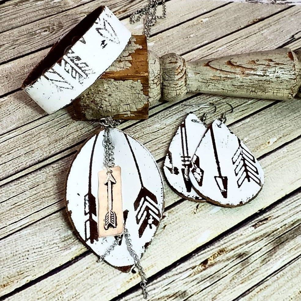 Photo of Leather Arrow Jewelry Set, Handmade Leather Jewelry, Boho Leather Jewelry, Distressed Leather Necklace, Boho Earrings, Painted Leather Cuff