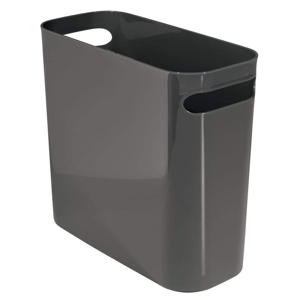 Amazon Com Mdesign Slim Plastic Rectangular Small Trash Can Wastebasket Garbage Container Bin With Handles For Bath Trash Can Garbage Containers Waste Basket