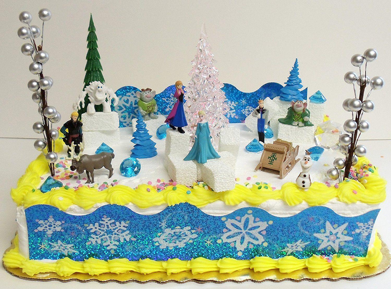 FROZEN 35 Piece Frozen Cake Topper Set Featuring 2 Winter Wonderland