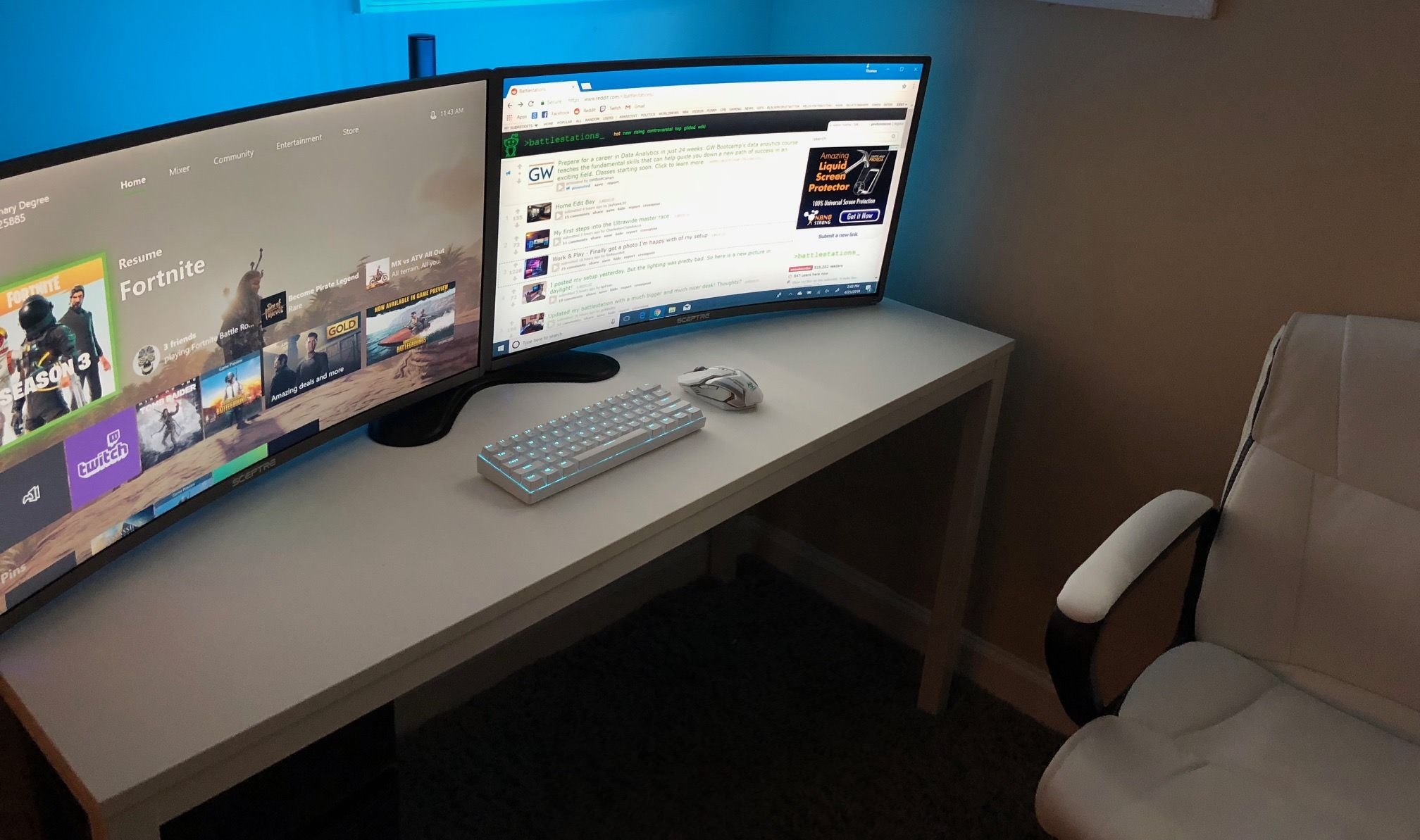 My First Battlestation Everything Is Relatively Cheap And I Use A Surface Pro 4 W A Docking Station Instead Of Gaming Room Setup Home Projects Battlestation