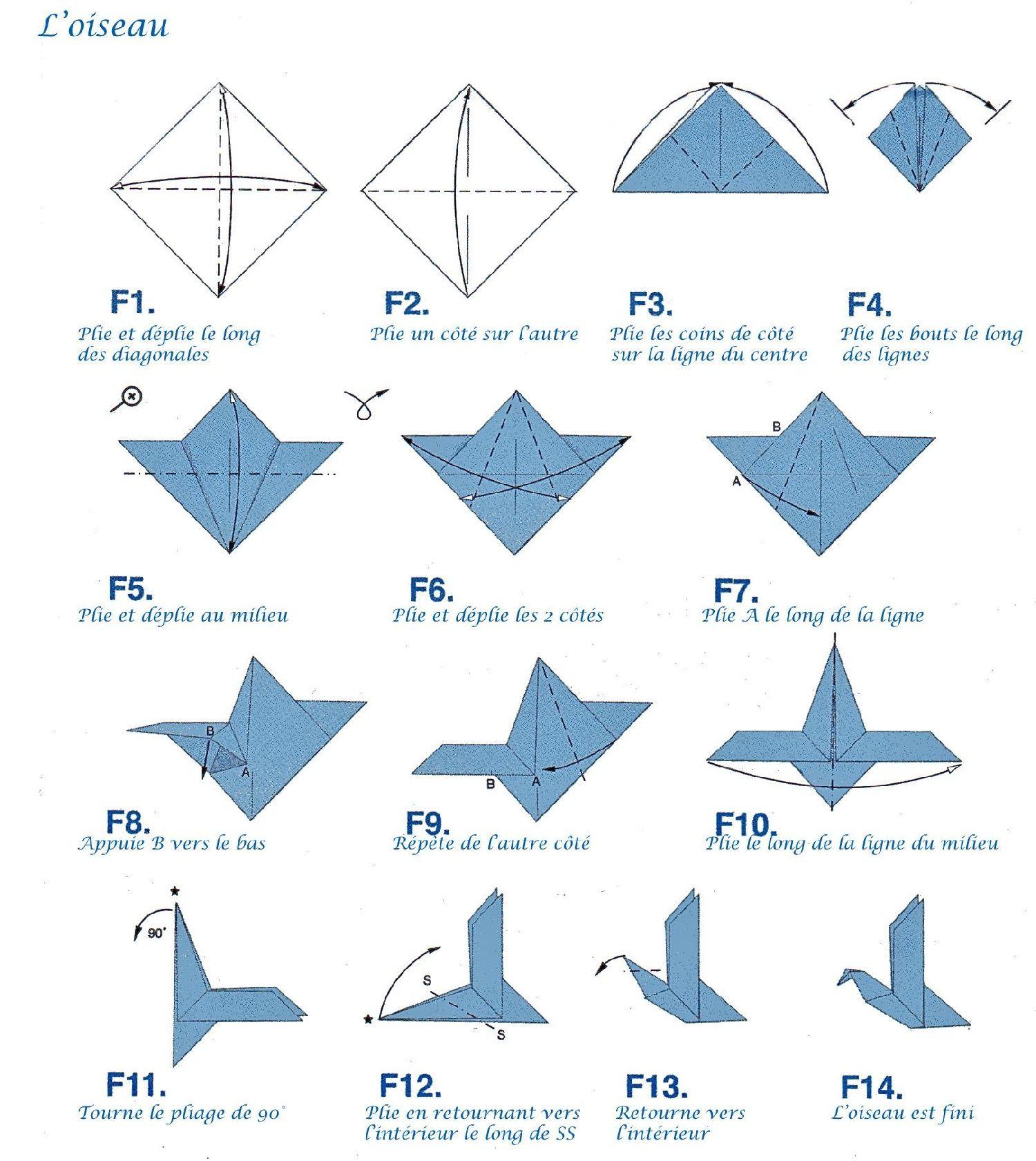Oiseau origami vous pourrez retrouver le mat riel ad quat sur notre site h - Origami simple a realiser ...