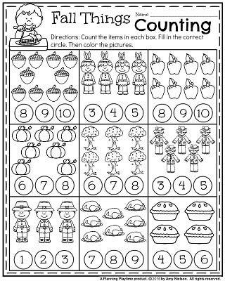 Fall Kindergarten Worksheets For November Planning Playtime Fall Kindergarten Thanksgiving Math Worksheets Kindergarten Math Worksheets Thanksgiving counting worksheets for