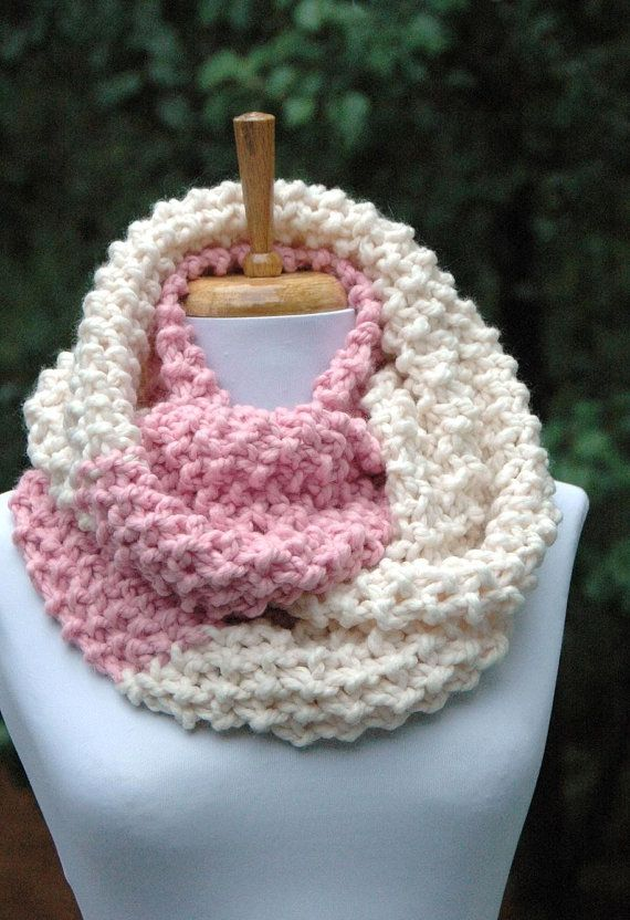 Chunky Knit Infinity Scarf, Circle Scarf, Knitted Scarf, Pink ...