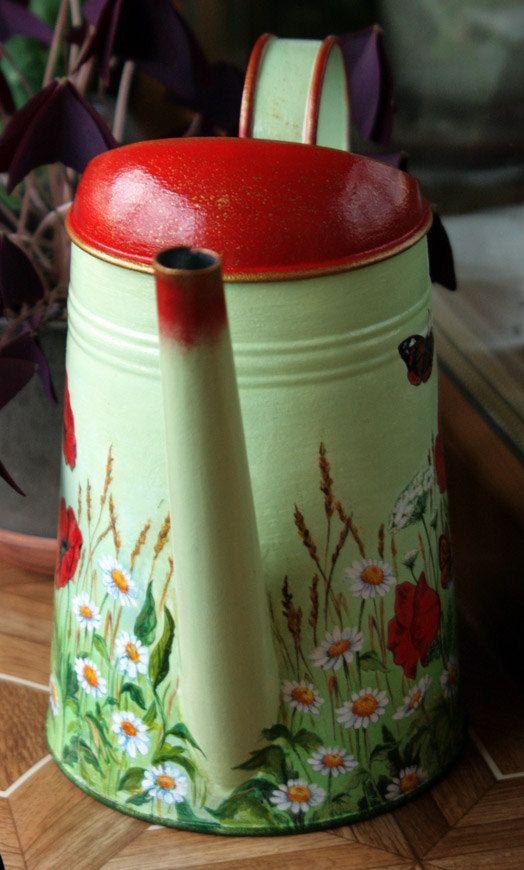 Maison Decor Tin Ceilings: Arrosoir Métallique Galvanisé Découpage Moderne Vase Par