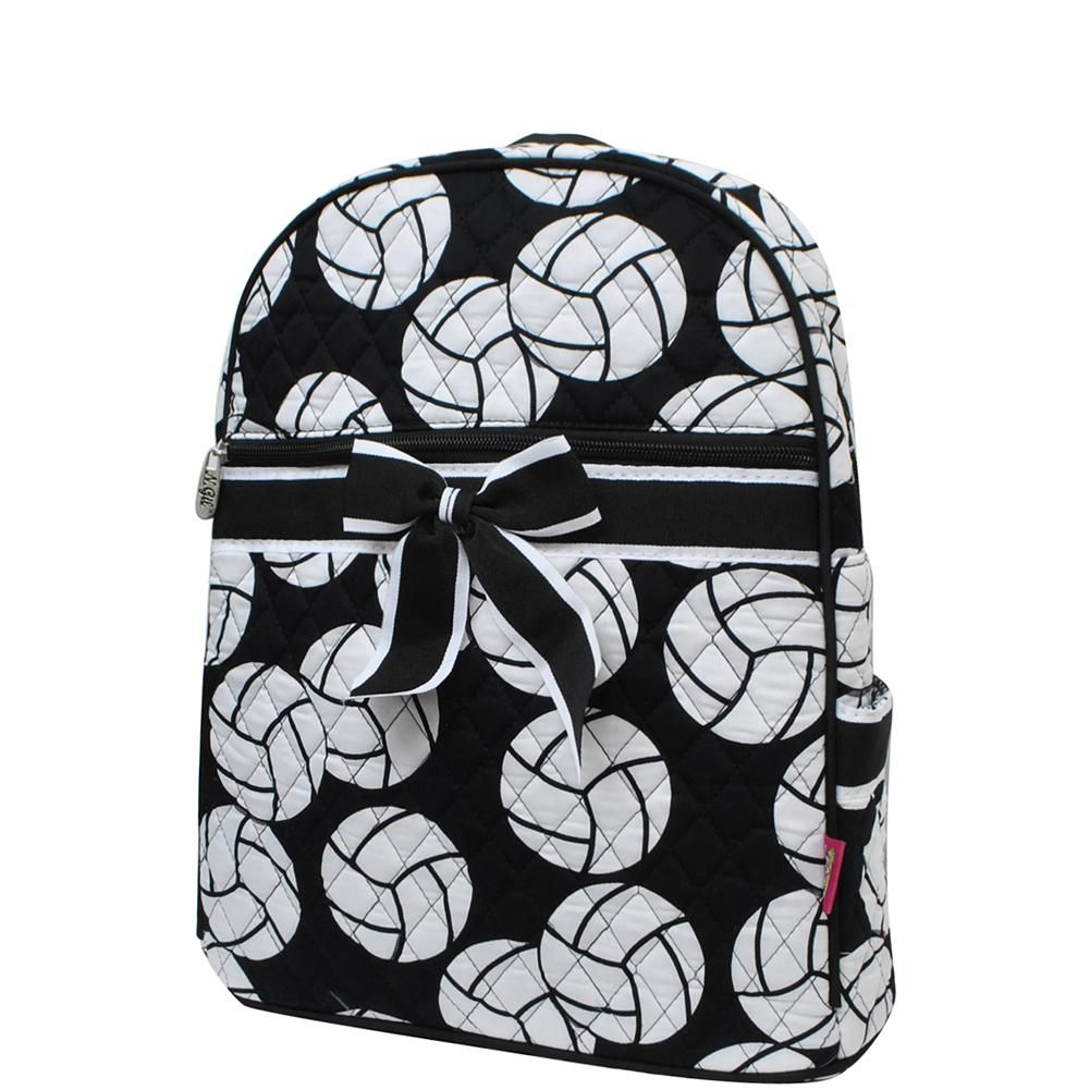 Volleyball Print Quilted BackpackBlk Quilted backpack