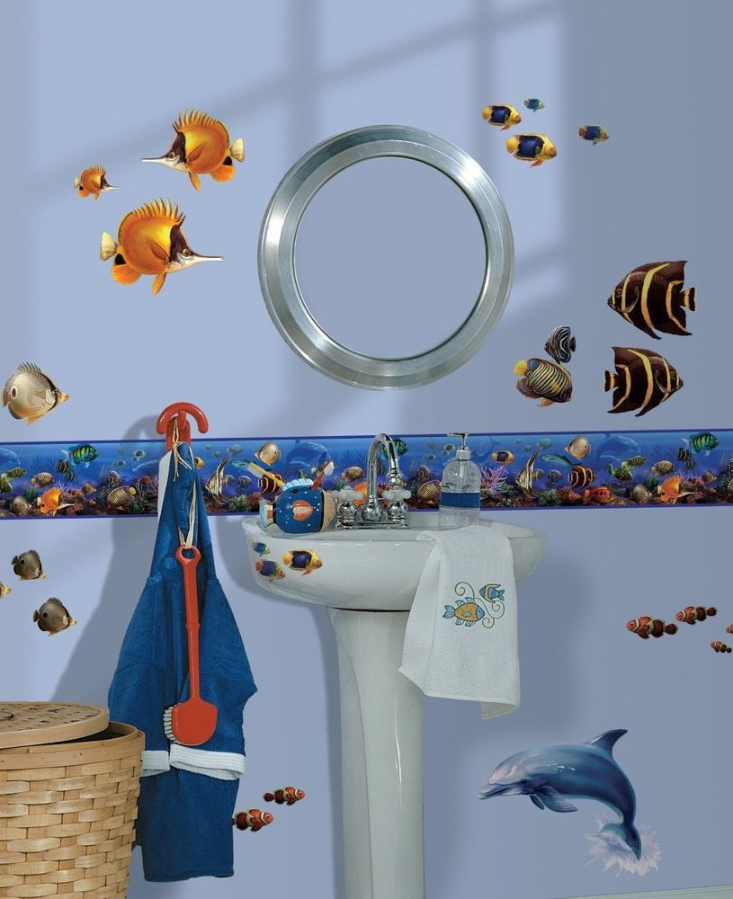 Sea Wall Border Room Wallpaper Decals Ocean Fish Dolphin Decor