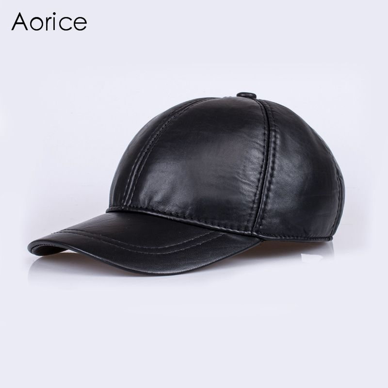 HL128  genuine leather baseball cap hat brand new men's real skin  leather  hats/caps with 2 colors