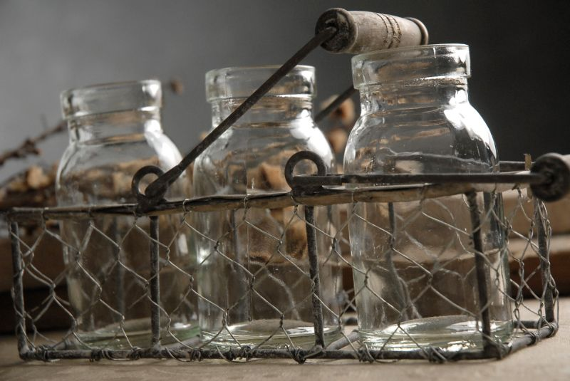 3 Tiny Glass Milk Bottles In A Chicken Wire Basket 10 Each 3 Fof