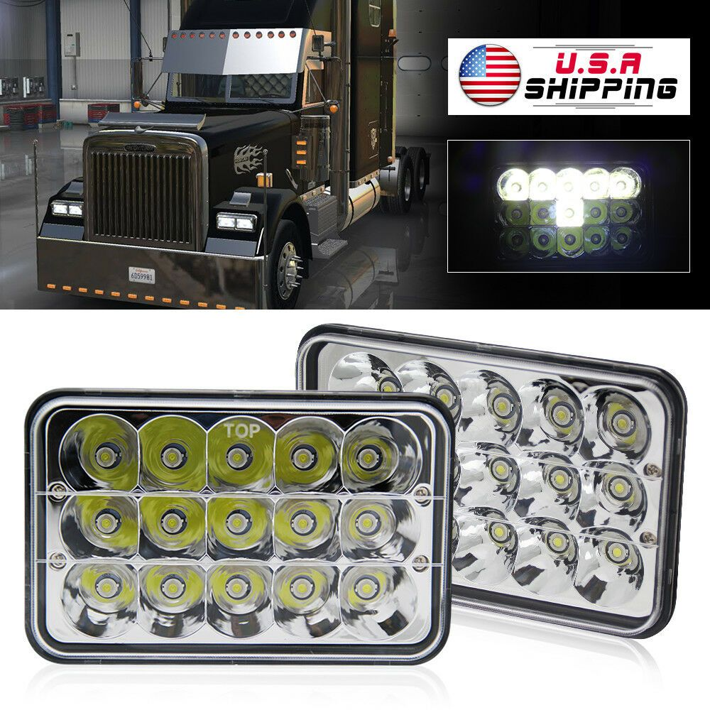 Ebay Sponsored 2pcs 4x6 Cree Led Headlights For Peterbilt Freightliner Western Star 4900 Semi Freightliner Led Headlights Peterbilt