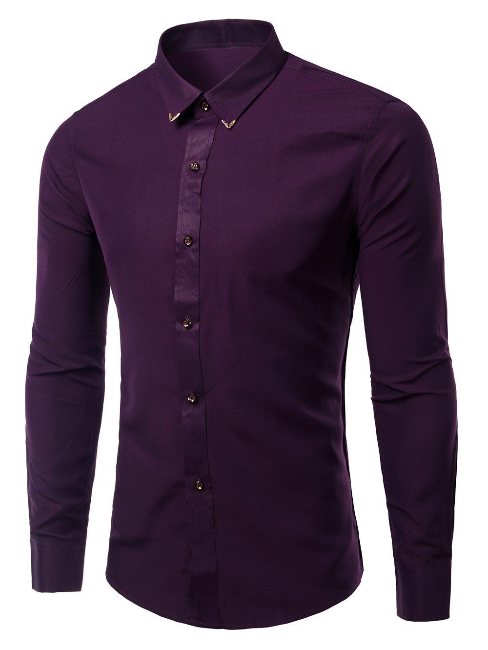 Long Sleeves Shirts Solid Color Metallic Turn Down Collar For Men