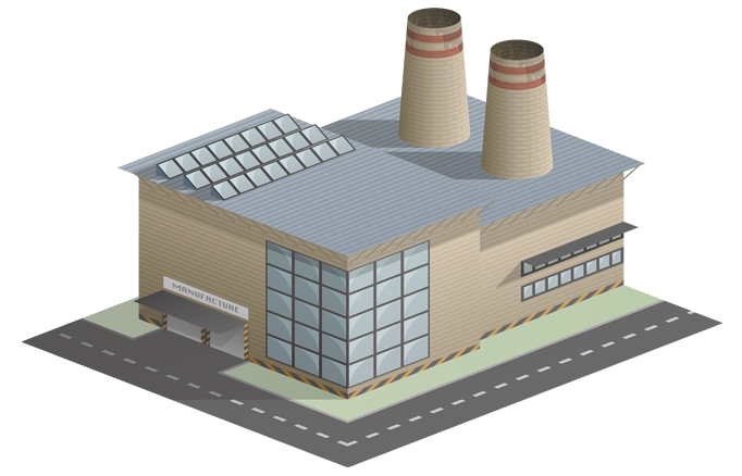 Small To Medium Factory Warehouse Isometric Building Icon Manufacturing