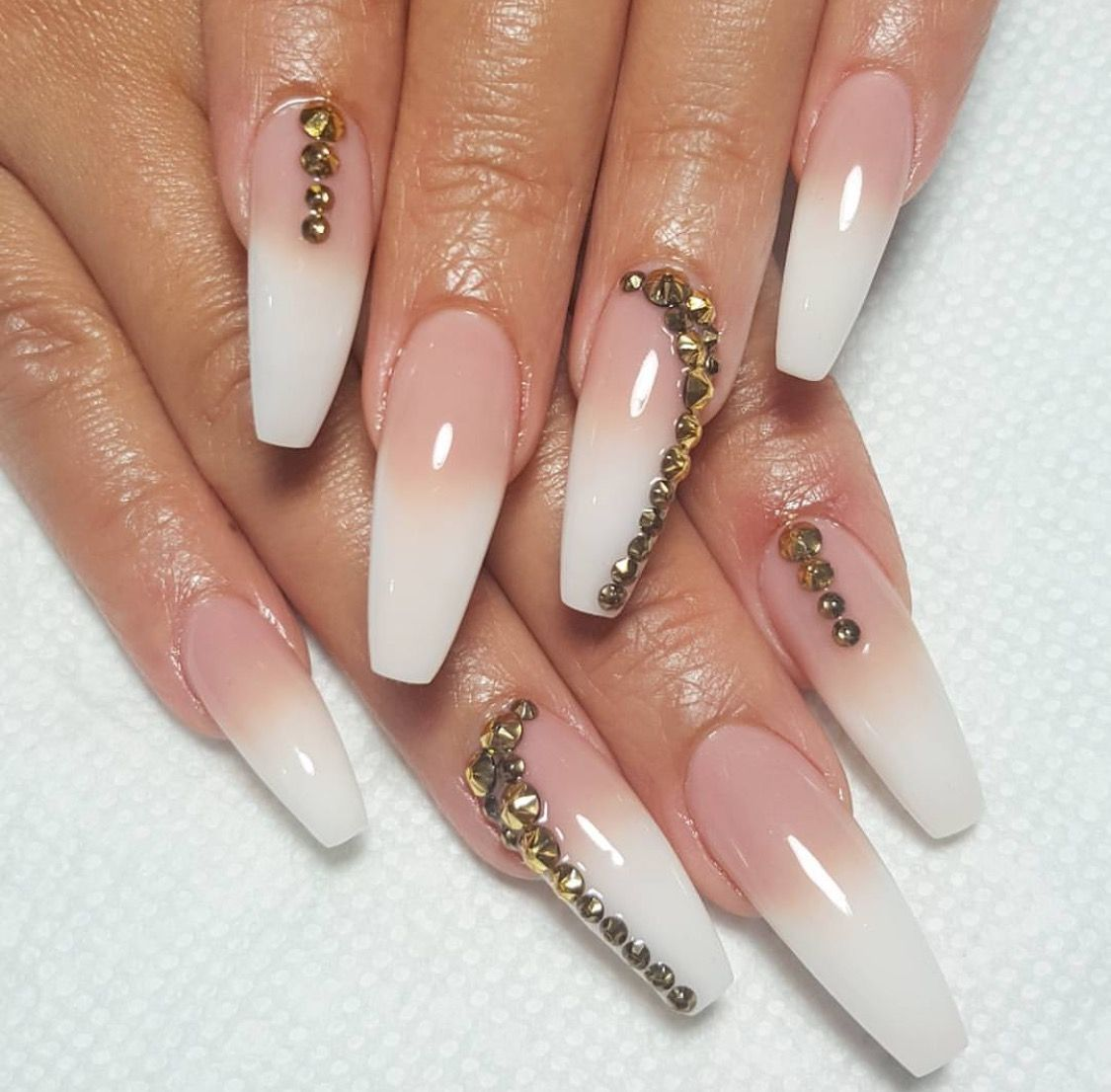 Ombr Set With Golden Diamonds ! Pinterest: Hair,Nails