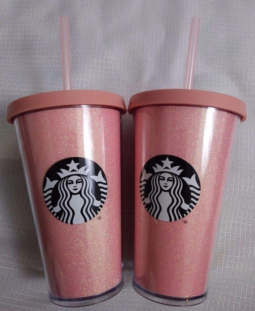 f2bbe3d1389 Brand New Starbucks Pink Glitter Cold Cup Tumblers 16oz Grande 2017 Lot 2 # Starbucks