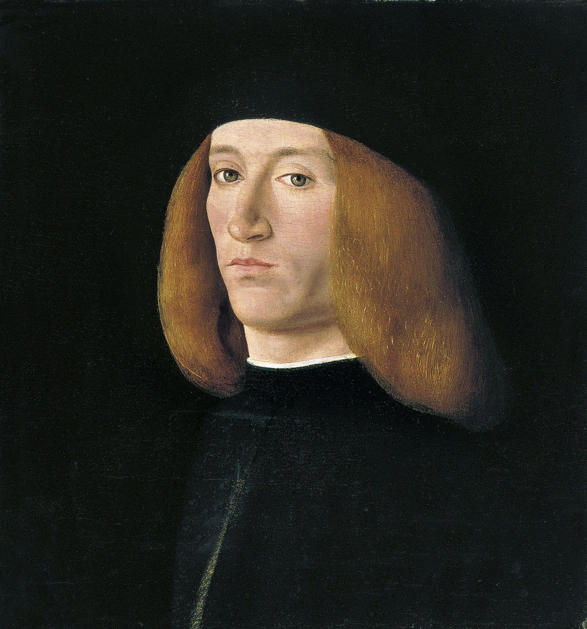 Andrea SOLARI (1460-1525) Portrait of a Young Man, after 1490 - Oil on panel; H. 31 cm, W. 28 cm, Thyssen-Bornemisza Museum